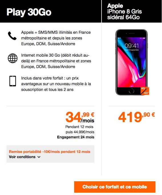 """L""""iphone 8 et le forfait Play 30."""