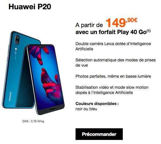 L'offre Play 40 Go de Orange pour un Huawei P20 au meilleur prix.