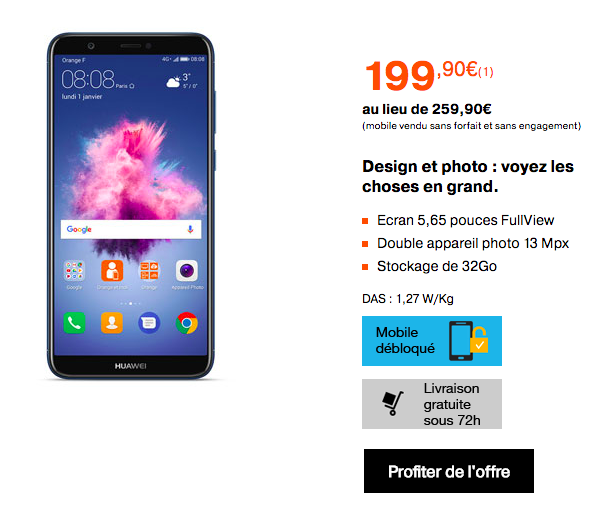Le Huawei P Smart en promotion chez Orange.