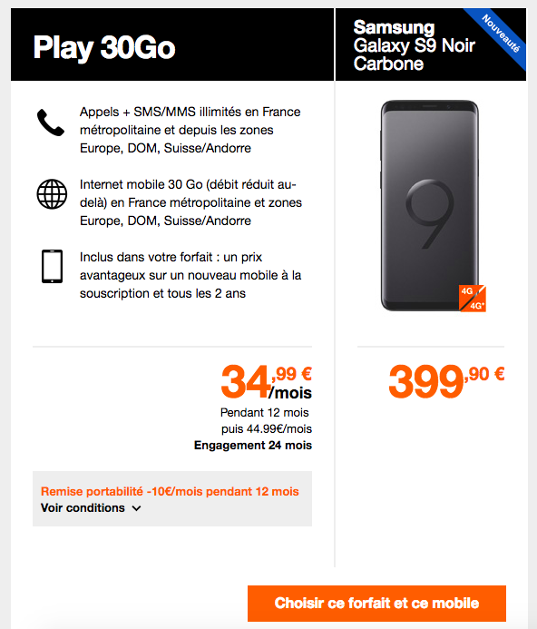 galaxy s9 choisir un forfait chez sfr orange ou bouygues telecom. Black Bedroom Furniture Sets. Home Design Ideas
