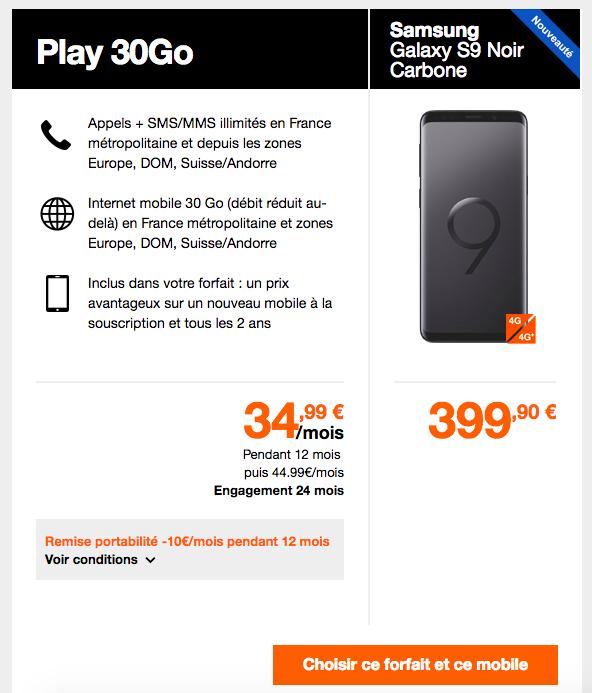 Orange propose plusieurs forfaits pour le Samsung Galaxy S9.