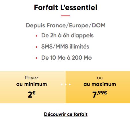 Le forfait L'Essentiel de Prixtel à deux euros minimum.