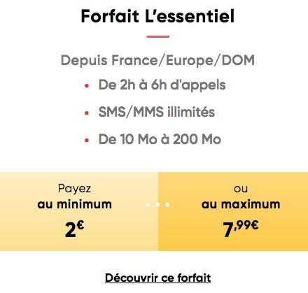 Le forfait adaptable de Prixtel.