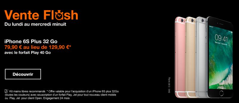 vente flash orange l 39 iphone 6s plus 32 go est au prix de 79 90. Black Bedroom Furniture Sets. Home Design Ideas