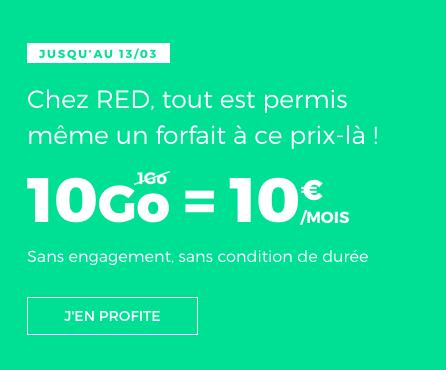 RED by SFR propose son forfait doté de 10 Go pour seulement 10€/mois.