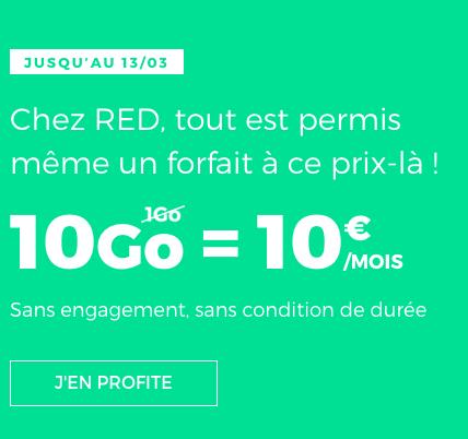 RED by SFR met en avant une superbe offre sur son forfait 10 Go.