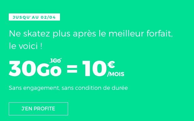 Le forfait RED by SFR doté de 30 Go.