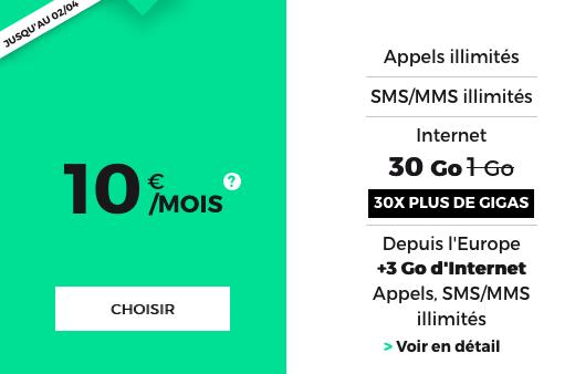 Le forfait mobile doté de 30 Go est à 10€ chez RED by SFR.