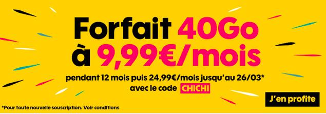 40 Go pour 9,99€ avec le code CHICHI de Sosh.