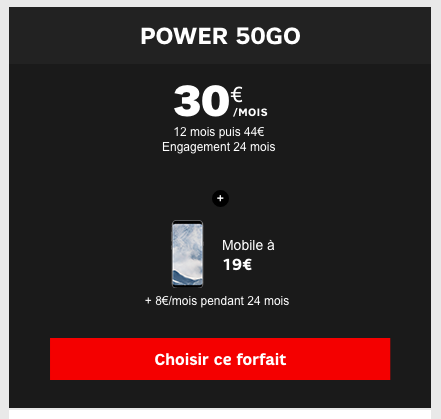 Le Samsung Galaxy S8 en promotion avec le forfait Power 50 Go de SFR.