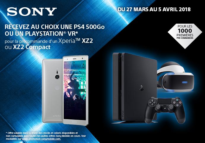 La PS4 ou le casque PS VR offert pour l'achat d'un smartphone Xperia XZ2 chez Bouygues Télécom.