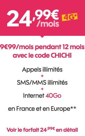 Le forfait de Sosh 40 Go accessible pour 9,99€/mois.