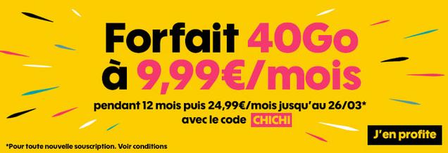 Sosh propose sa formule 40 Go pour 9,99€.