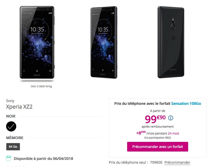 Sony Xperia XZ2 Bouygues Télécom