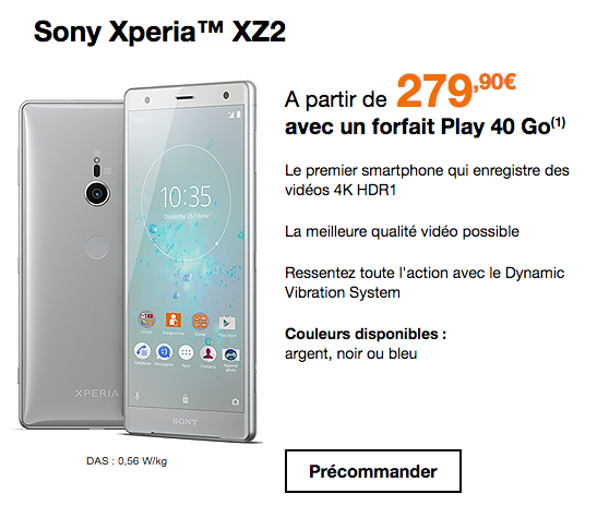 Promotion sur le Xperia XZ2 de Sony chez Orange.