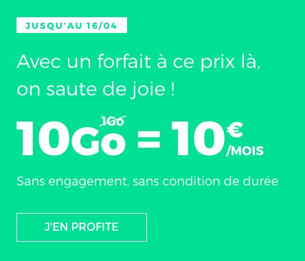 Le forfait RED by SFR disponible à raison de 10€ par mois.