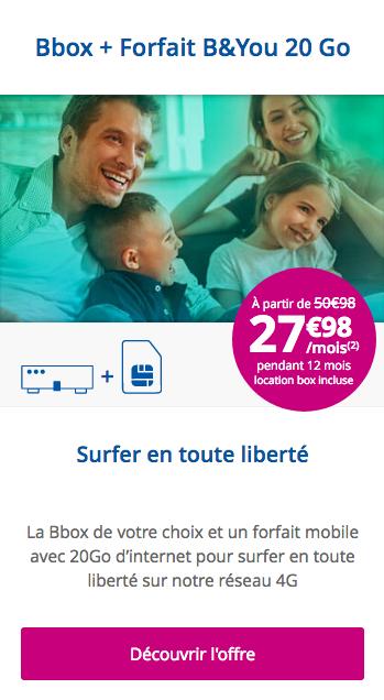 L'abonnement conjoint à Internet et à un forfait mobile chez Bouygues Télécom.
