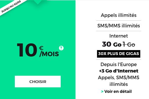 30 go d'Internet avec ce forfait mobile de RED by SFR.