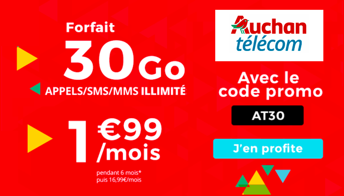 Le forfait Auchan Télécom 30 Go