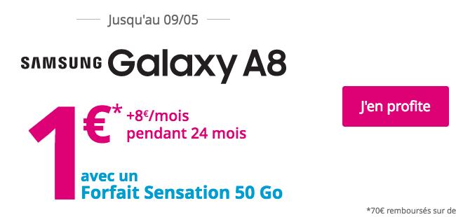 Le Samsung Galaxy A8 avec un forfait Sensation.