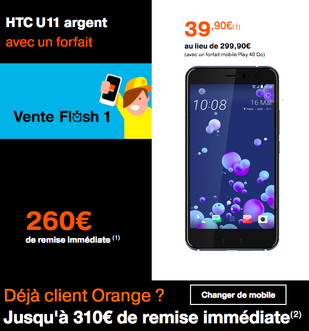 Orange vente flash HTC