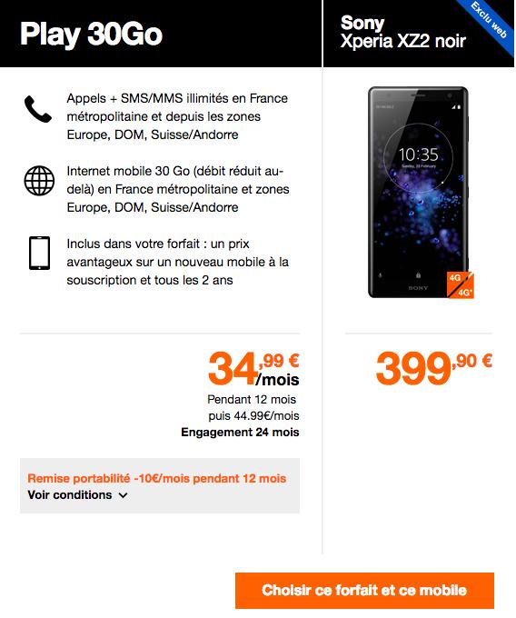 Les offres Orange avec le Xperia XZ2.
