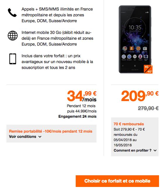 Xperia XZ2 Compact avec Orange.