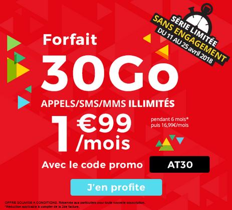 Le forfait mobile d'Auchan Telecom est disponible pour seulement 1,99€/mois.