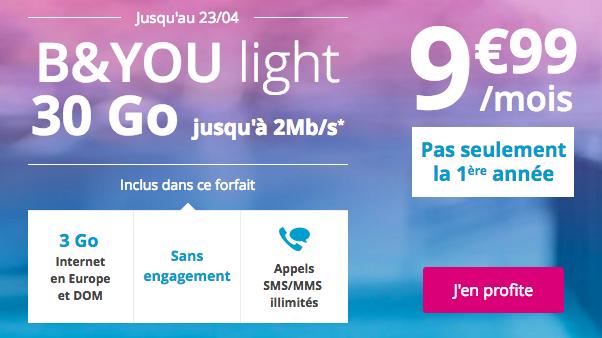 L'offre B&YOU light 30 Go de BouyguesTelecom