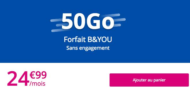 Le forfait B&YOU 50 Go de Bouygues Telecom.