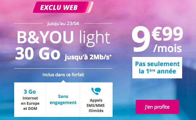 Forfait B&YOU en promotion de Bouygues Telecom