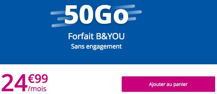 Le forfait pas cher de Bouygues Télécom et sa filiale B&YOU.