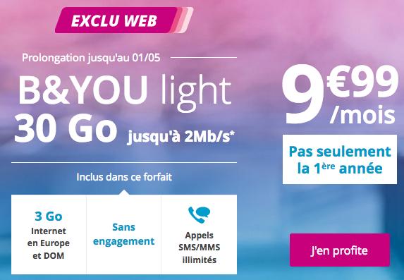 Le forfait mobile de B&YOU est en promotion sur le site de Bouygues Télécom.