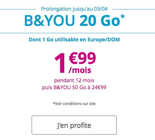 Forfait B&YOU à bas prix chez Bouygues Télécom.