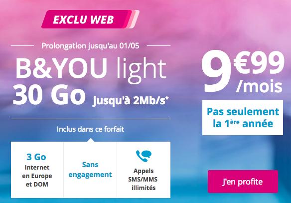 Le forfait B&YOU light 30 Go en promotion chez Bouygues Telecom