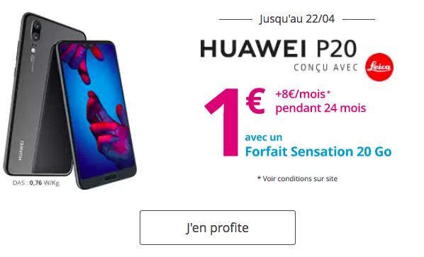 Bouygues Télécom affiche le Huawei P20 à 1€.