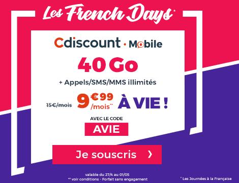 Les French Days permettent à Cdiscount de proposer un bon plan sur l'un de ses forfaits mobiles.