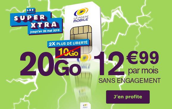 Le forfait 10 Go de La Poste Mobile a désormais 20 Go d'Intenret