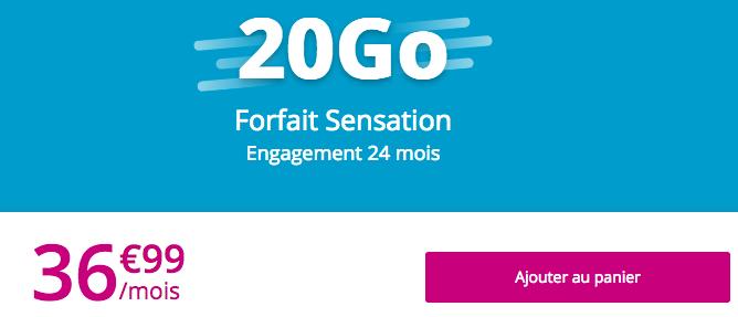 Le forfait Sensation 20 Go disponible avec un téléphone pour un petit prix.