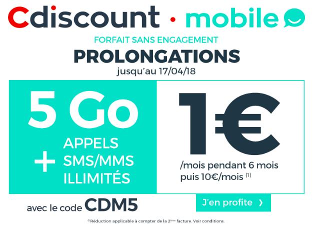 Le forfait 5 Go Cdiscount Mobile en promotion.