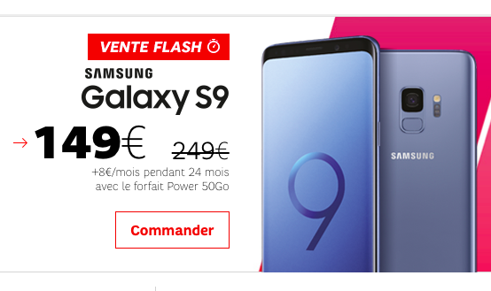 Les réductions sur le Galaxy S9 avec SFR.