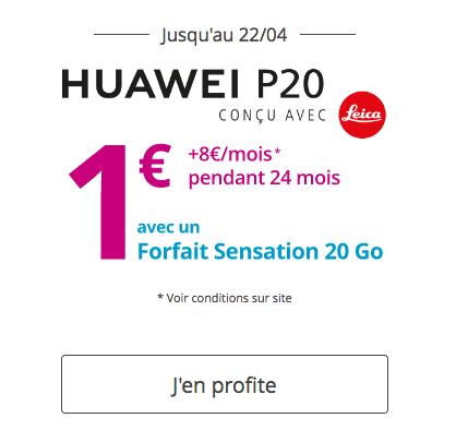 Le portable Huawei P20 est disponible avec une belle remise chez Bouygues Télécom.