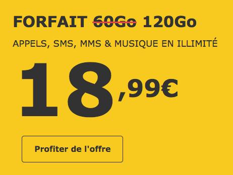 Le forfait mobile de La Poste Mobile possède 120 Go d'Internet.