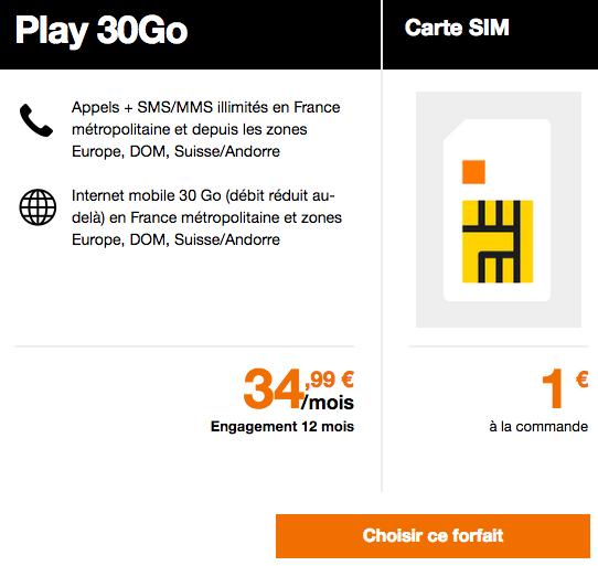 Le forfait mobile Play 30 Go est dispponible chez Orange.