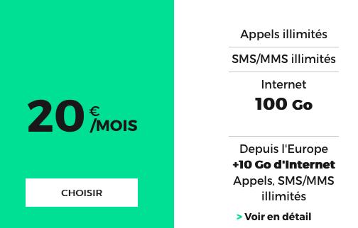 Le forfait de RED by SFR possédant 100 Go d'Internet.