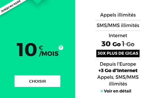 30 Go pour 10€ par mois grâce à la promotion du forfait RED by SFR.