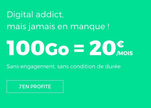 20€ pour accéder à ce forfait mobile de 100 Go chez RED by SFR.