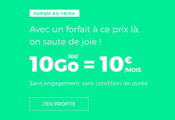Quel prix pour le forfait RED 10 Go de RED by SFR ?
