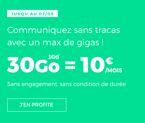 Le forfait mobile de RED by SFR doté de 30 Go d'Internet.