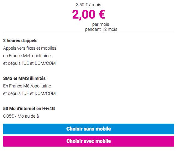 L'offre à 2€ de Coriolis Télécom.